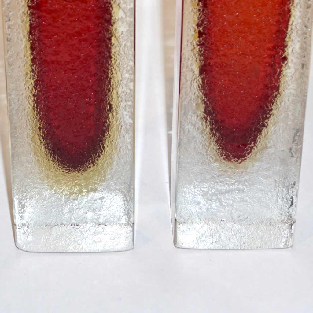 1950 Italian Pair of Organic Crystal, Yellow & Red Murano Art Glass Flower Vases
