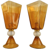 Linea Padovan 1970s Vintage Pair of Amber Gold and Crystal Murano Glass Lamps