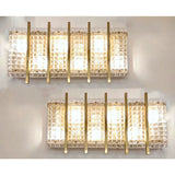 1970s Italian Large Rectangular Brass and Clear Murano Glass Sconces