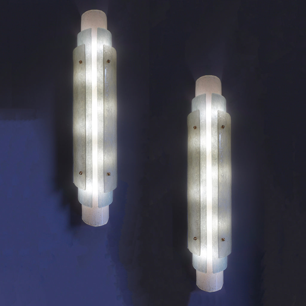 1990s Italian Pair of Tall Wall Lights in White Blue Grey Frosted Murano Glass
