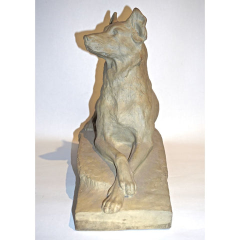Charles Virion 1920 Antique Gray Terracotta Sculpture of a German Shepherd Dog
