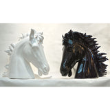 Modern Italian Design Oversized Black and White Ceramic Horse Head Sculptures - Cosulich Interiors & Antiques
