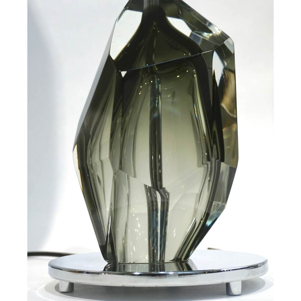 Donà Contemporary Italian Pair of Faceted Solid Rock Smoked Murano Glass Lamps - Cosulich Interiors & Antiques