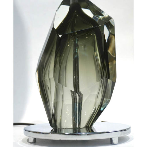 Donà Contemporary Italian Faceted Solid Rock Smoked Murano Glass Lamp