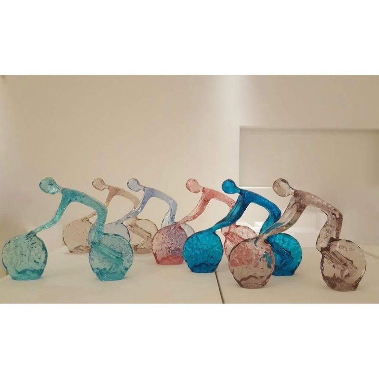 Contemporary Tangerine Light Blue Modern Lucite Sculpture of Minimalist Cyclist