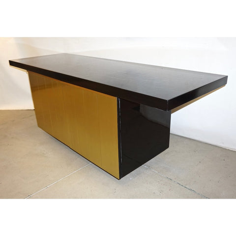 1970 Frigerio Vintage Italian Black & Gold Copper Freestanding Sideboard/Console