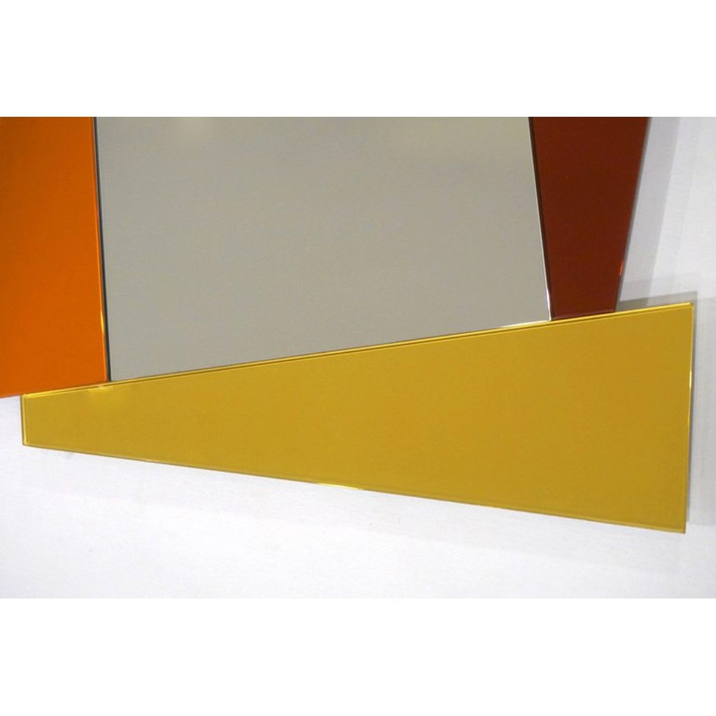 2007 Ettore Sottsass Geometric Mirror in White Red Orange Yellow for Glas Italia - Cosulich Interiors & Antiques