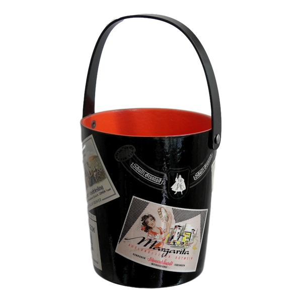 1950s Black and Red Lacquered Barware Ice Bucket - Cosulich Interiors & Antiques