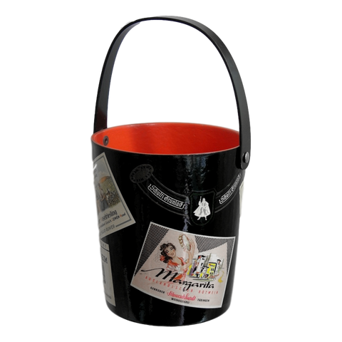 1950s Black and Red Lacquered Barware Ice Bucket