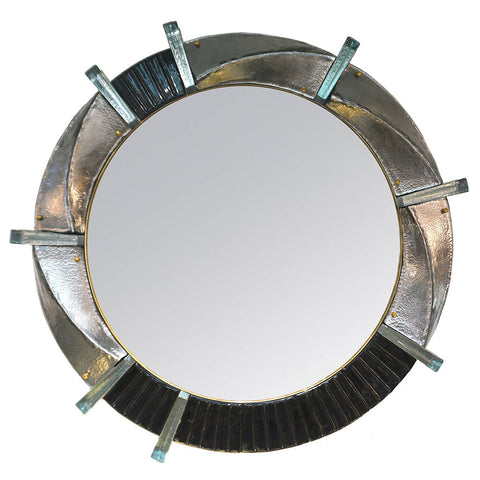Contemporary Italian Bespoke Black Silver & Aqua Murano Glass Brass Round Wall Mirror