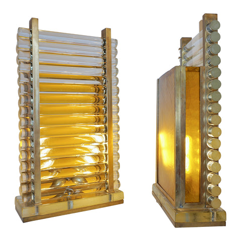 Italian Design Gold and Crystal Pair of Sculpture Lamps in the style of Gabriella Crespi