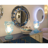 Contemporary Italian Modern Chromed Round Wall Mirror with Jewel Like Blue Glass Rocks