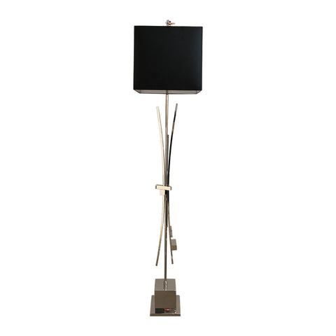 Contemporary Bespoke Italian Abstract Design Meccano Nickel Floor Lamp