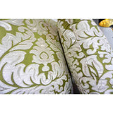 Contemporary French Green and Ivory White Damask Velvet Throw Pillows - Cosulich Interiors & Antiques
