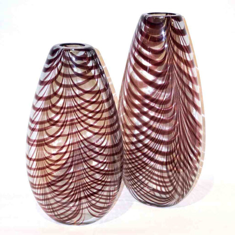 Formia 1970s Two Fenicio Feather Decorated Purple Brown Murano Art Glass Vases