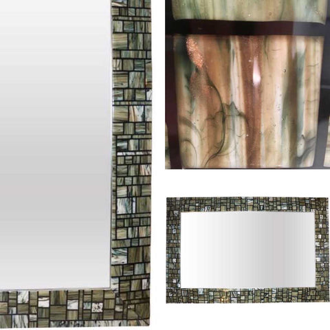 Modern Italian Green Cream Caramel White and Black Murano Glass Mosaic Mirror - Cosulich Interiors & Antiques