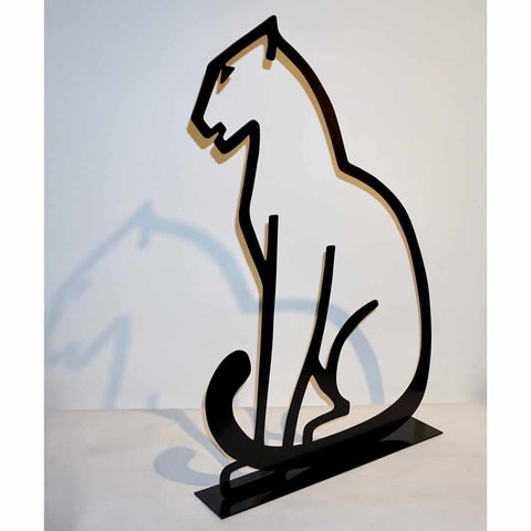 1980 Italian Minimalist Design Black Lacquered Iron Panther Silhouette Sculpture - Cosulich Interiors & Antiques