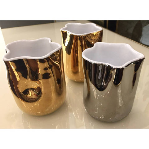 Contemporary Italian White Ceramic Tumblers Decorated with Pure Platinum or Gold