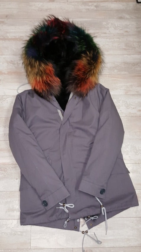 Melissa Parka- Charcoal/Autumn- Black fox lining