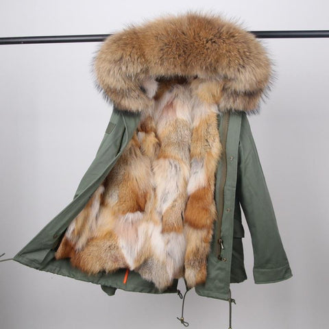 Chloe Parka- Olive/ White Gold Fox