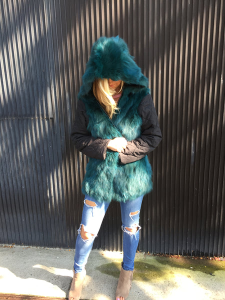 Abbey Parka- Black/ Teal Fox