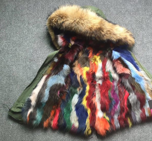 Morgan Parka-Multi Patchwork Fur SAMPLE SALE SIZE EXTRA SMALL SHORT LENGTH
