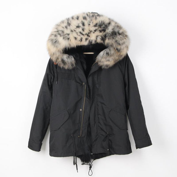 Peg Parka-Black/leopard trim