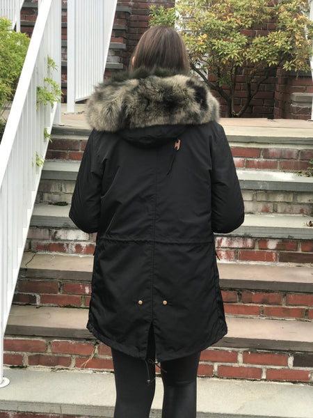 Carrie Parka- Black/camo trim
