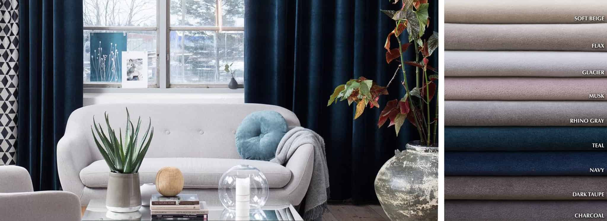 Noble - Collection Curtains Cotton blend plush velvet Fabric