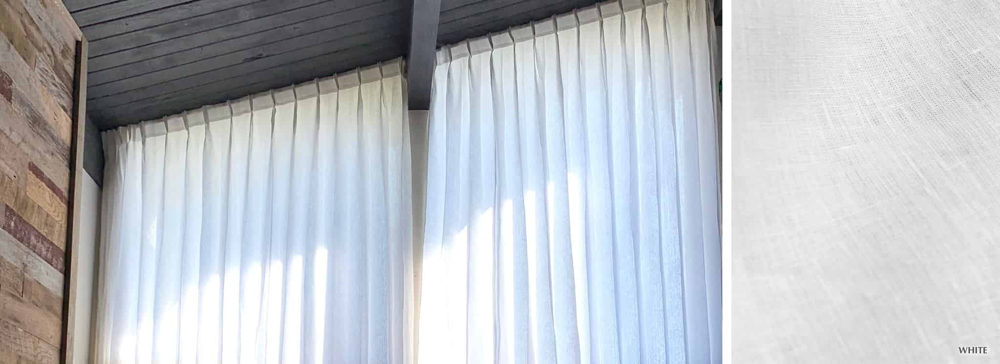 Lille - Collection Curtains Pure white linen semi-sheer Fabric