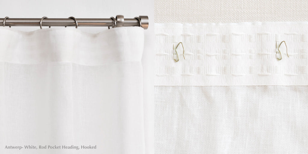 loft curtains heading rod pocket hooks white drape custom made