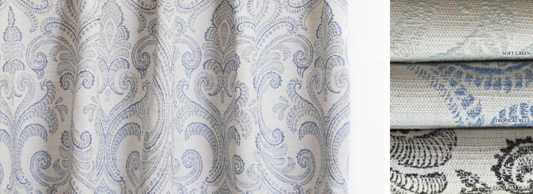 Valencia - Collection Curtains Linen blend floral embroidered Fabric