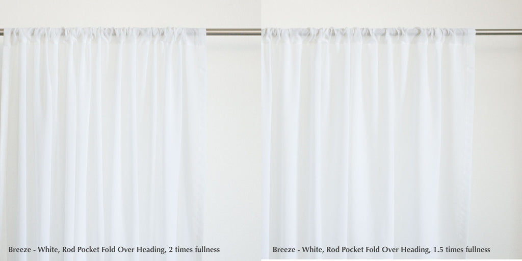 Rod pocket fold over heading style by loft curtains