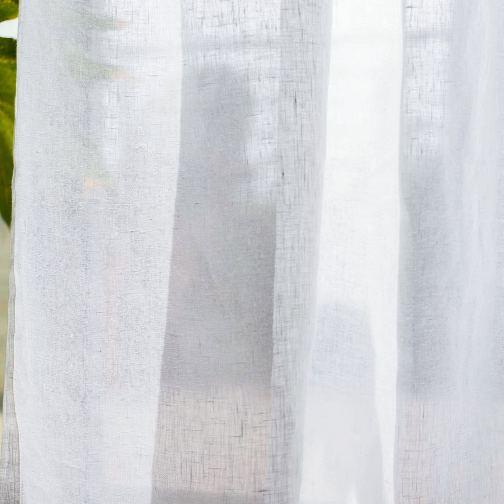 ANTWERP - 100% Belgian Linen Sheer Curtains - Glacier -extra long curtains - drapery - Loft Curtains