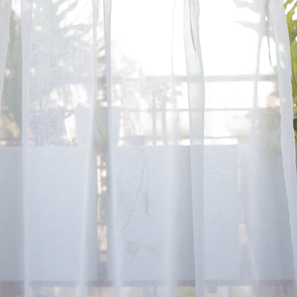 Mist - Plain weave voile sheer curtains - White -extra long curtains - drapery - Loft Curtains