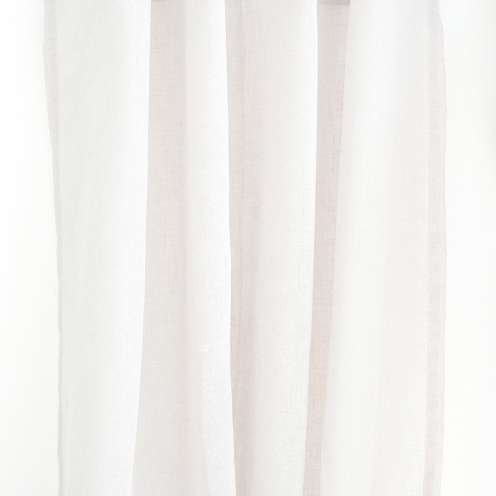 FLOW   Linen Open Weave Sheer Curtains   White  Extra Long Curtains    Drapery
