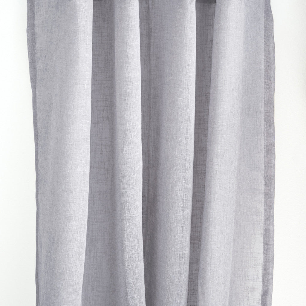 Flow Linen Open Weave Sheer Custom Drapes Light Elephant Gray Loft Curtains
