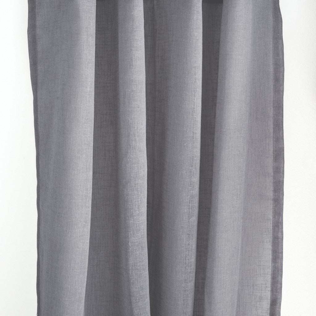 Flow linen open weave sheer curtains dark gray extra long curtains drapery