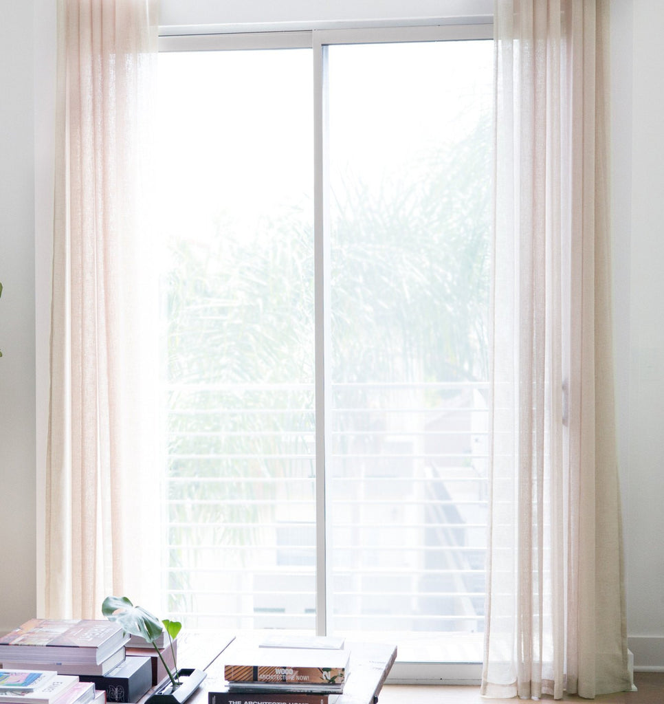 FLOW   Linen Open Weave Sheer Curtains   Shadow White