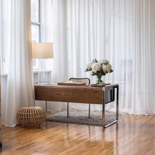 FLOW - Linen open weave sheer curtains - White -extra long curtains - drapery - Loft Curtains