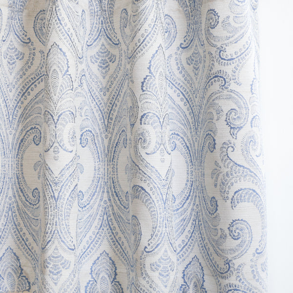 VALENCIA - Linen Blend Floral Embroidered Curtains - Tropical Blue -extra long curtains - drapery - Loft Curtains