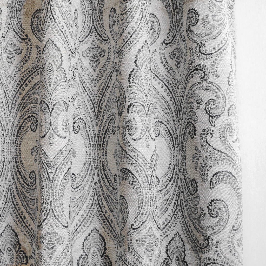 VALENCIA - Linen Blend Floral Embroidered Curtains - Contrast Gray -extra long curtains - drapery - Loft Curtains