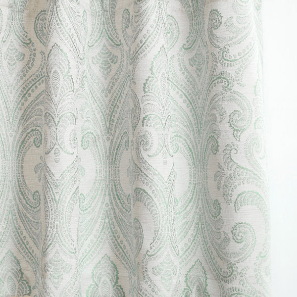VALENCIA - Linen Blend Floral Embroidered Curtains - Soft Green -extra long curtains - drapery - Loft Curtains
