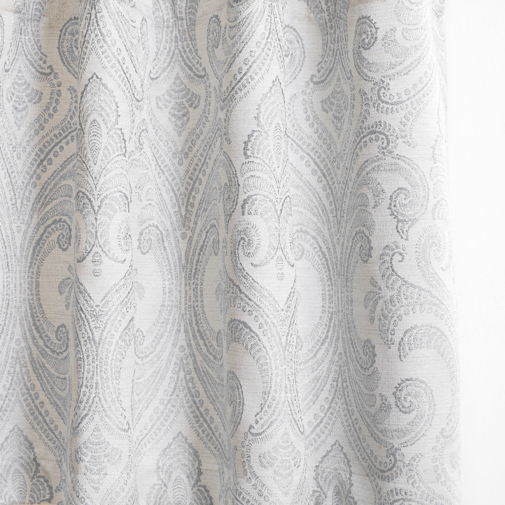 Valencia Linen Blend Floral Embroidered Curtains Subtle Gray