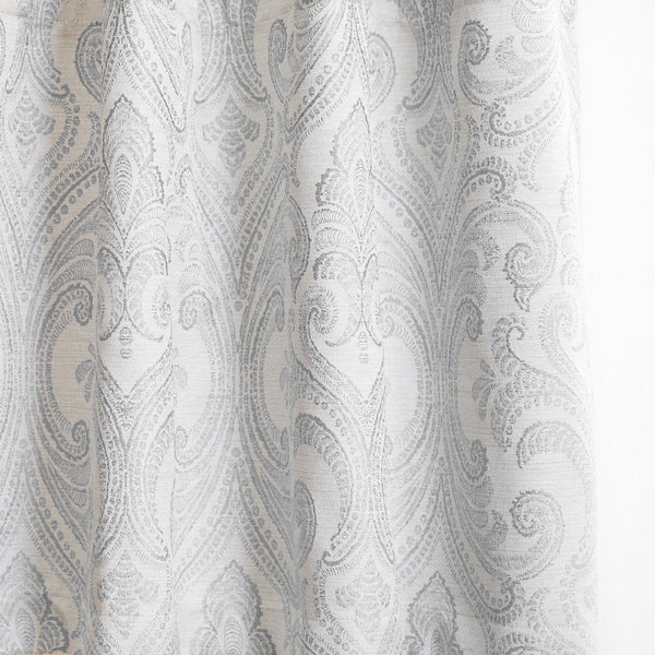 VALENCIA - Linen Blend Floral Embroidered Curtains - Subtle Gray -extra long curtains - drapery - Loft Curtains
