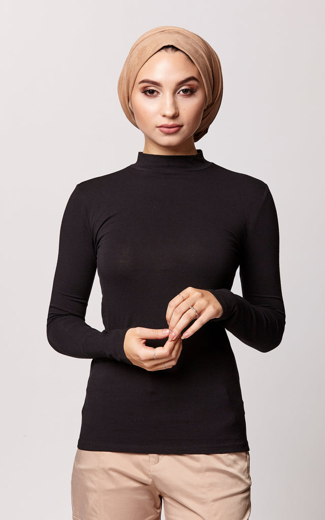 High Neck Long Sleeve Top in Black