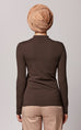 High Neck Long Sleeve Top in Brown