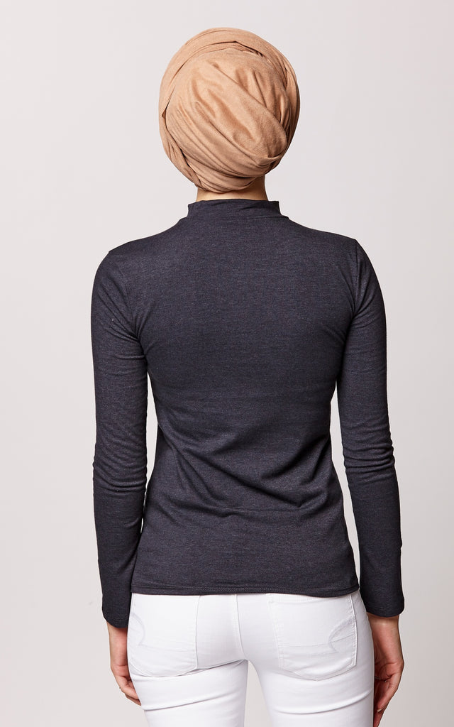 High Neck Long Sleeve Top in Graphite