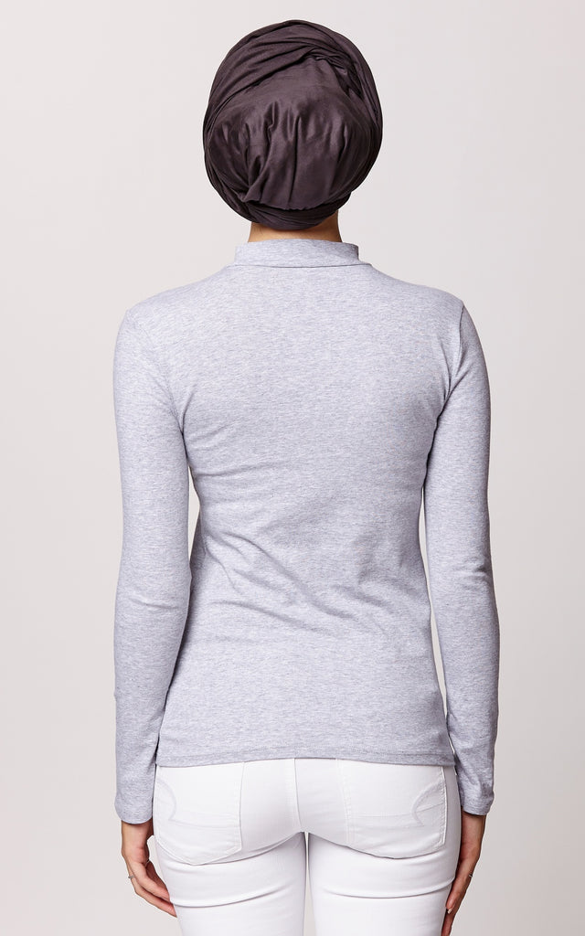 High Neck Long Sleeve Top in Heather Gray