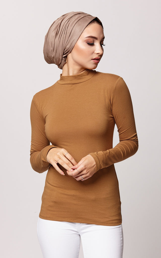 High Neck Long Sleeve Top in Camel